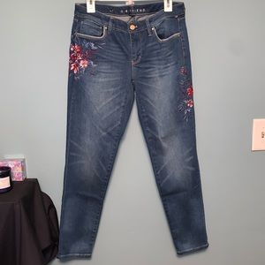 WHBM Floral Embroidered The Girlfriend Jeans